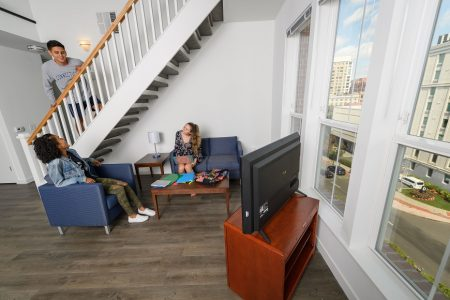 Students in a suite at the UConn Stamford residence hall on Sept. 7, 2017. (Peter Morenus/UConn Photo)
