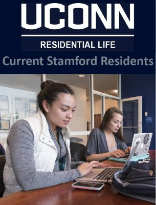 Link to Current Stamford Residents page, icon showing student studying at Stamford