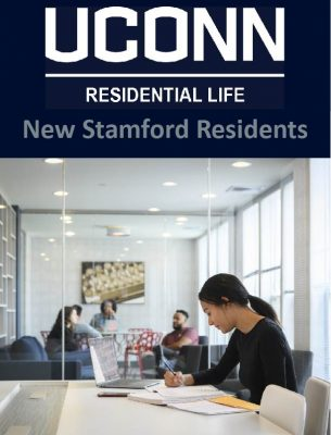 Link to New Stamford Residents website, icon showing student studying at Stamford Residence Hall