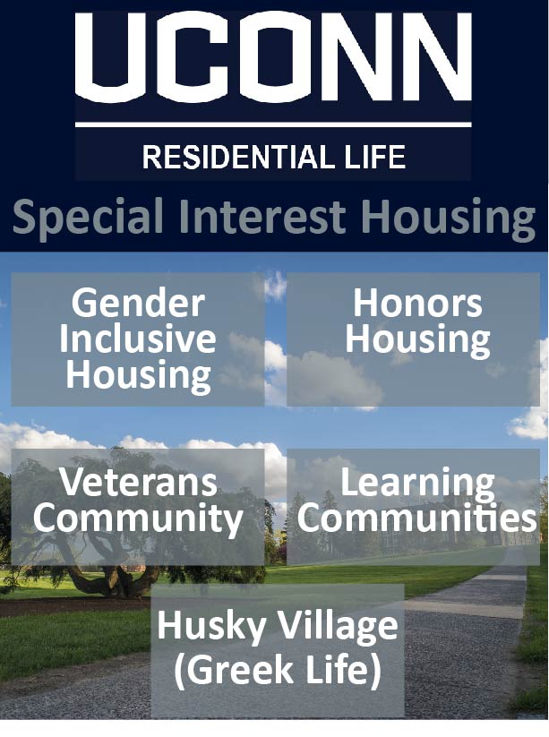 "Icon reading ""Special Interest Housing"" and includes Gender Inclusive Housing, Veterans Community, Recovery Community, Honors Housing, Learning Communities, and Husky Village (Greek Life)"