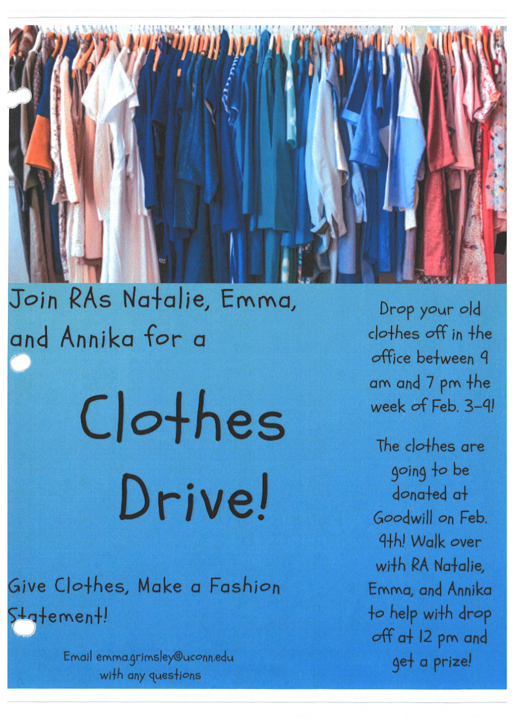 Stamford programming flyer example: clothing Drive