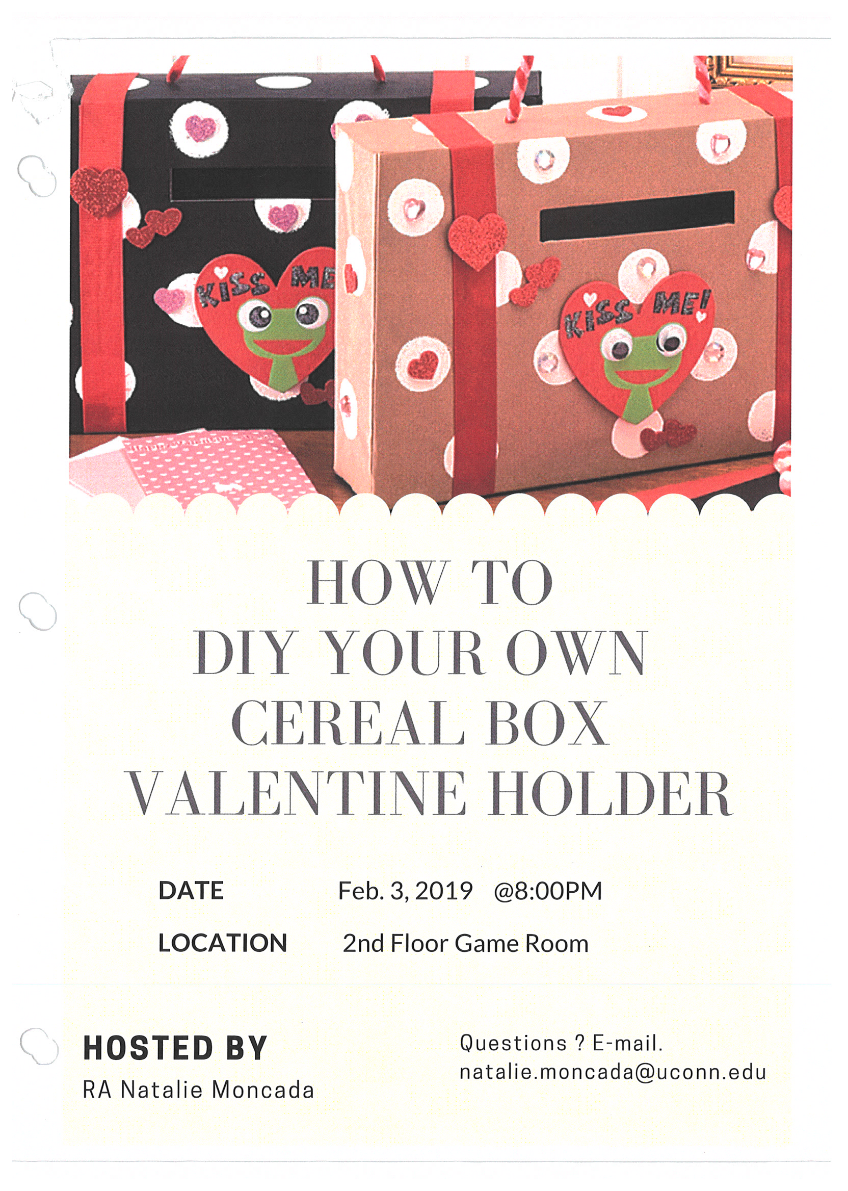 Stamford programming flyer example: Cereal Box Valentine Holder