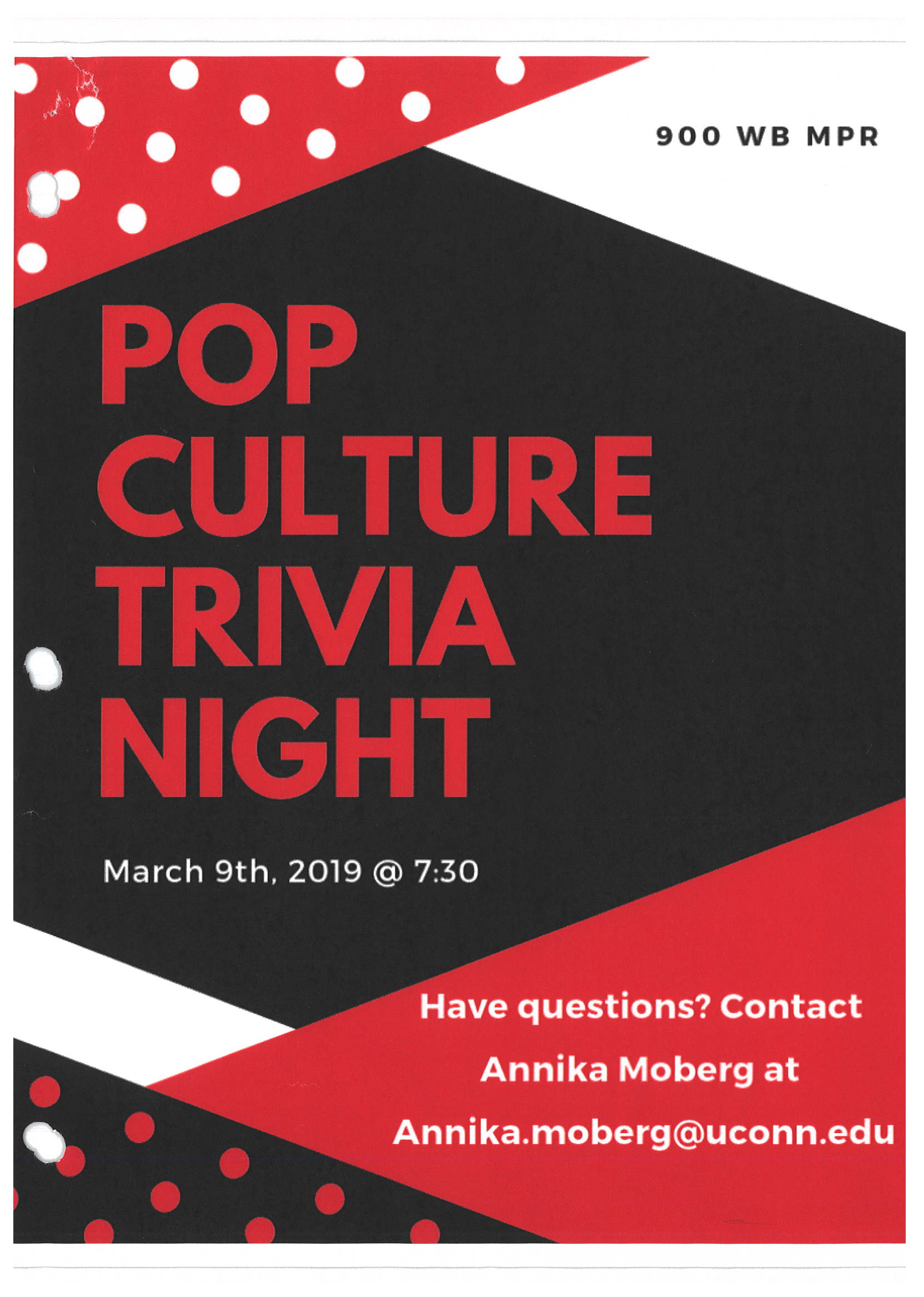 Stamford programming flyer example: Pop Culture Trivia Night