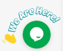 "live chatbox widget reading ""We Are Here!"""