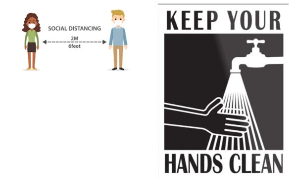 """Two people standing side by side with """"Social Distancing: 2 M or 6 feet"""" written between them. Next to this image is an image of two hands under a water faucet with the words """"Keep your hands clean"""""""