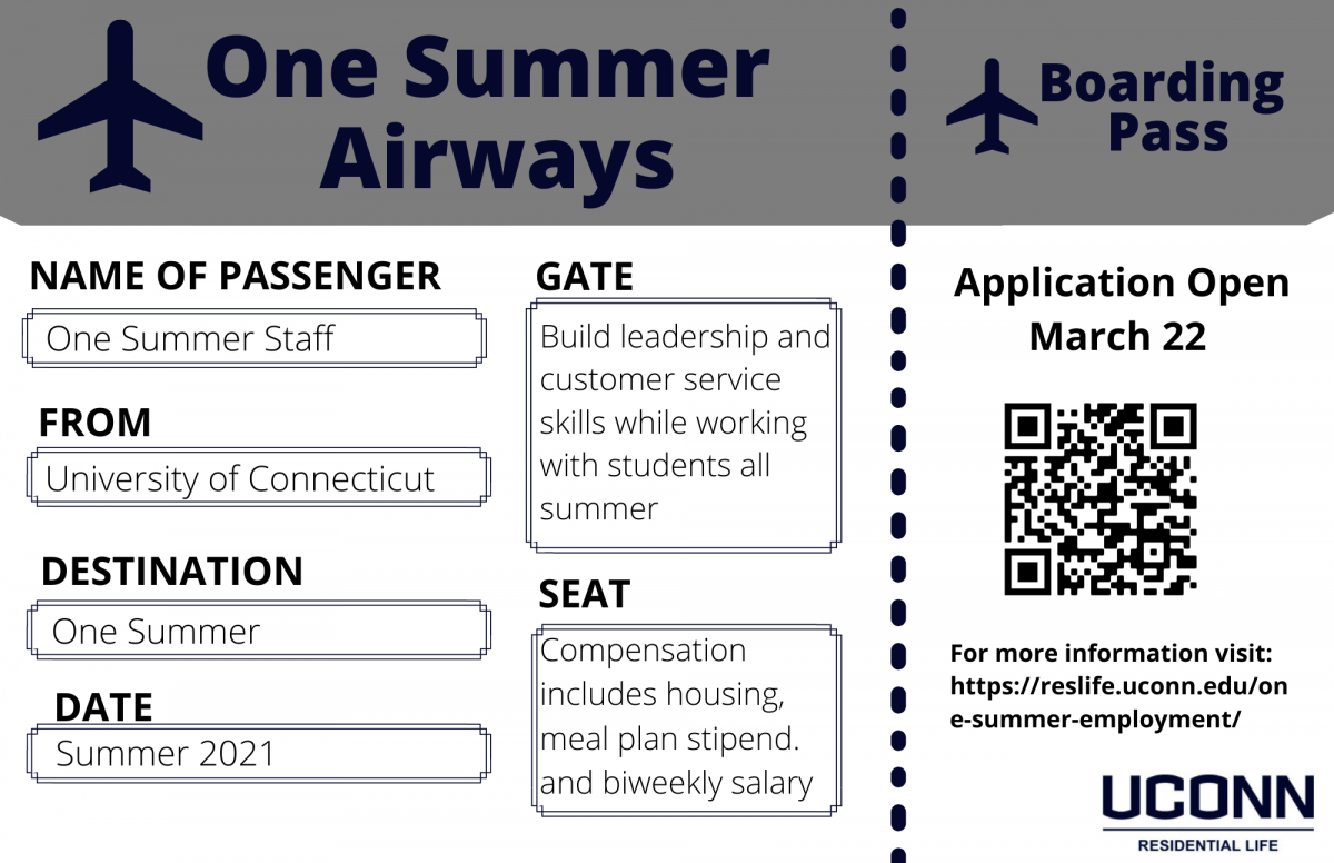 Flyer sharing that the One Summer application opens March 22 for Summer 2021 and to visit https://reslife.uconn.edu/one-summer-employment/ for more information